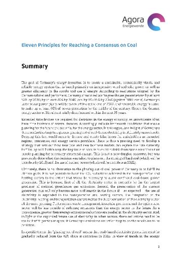 """English Summary of """"Elf Eckpunkte für einen Kohlekonsens: Konzept zur schrittweisen Dekarbonisierung des deutschen Stromsektors"""""""