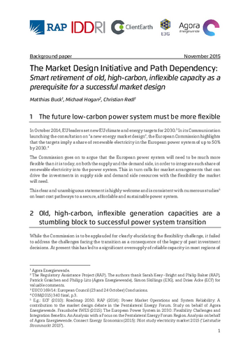 Smart retirement of old, high-carbon, inflexible capacity as a prerequisite for a successful market design