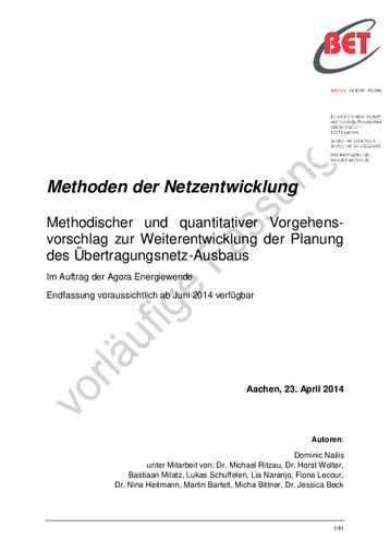 Methodischer und quantitativer Vorgehensvorschlag zur Weiterentwicklung der Planung des Übertragungsnetz-Ausbaus