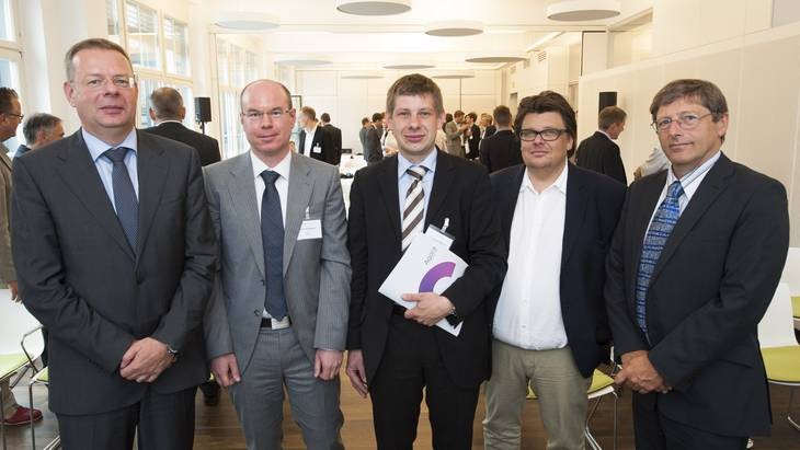 Die Referenten (v.l.n.r.): Dr. Felix Christian Matthes, Prof. Dr. Felix Müsgens, Dr. Christoph Maurer, Ben Schlemmermeier, Prof. Dr. Georg Erdmann (Foto: Hans Christian Plambeck)